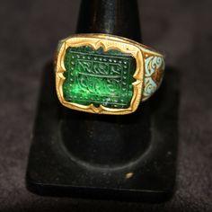 Image of A Mughal Emerald Islamic Calligraphy Ring