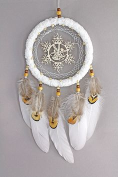 Snowflake bell dream catcher White dreamcatcher - boho style winter home decor - native american wall hanging - gift for her - feather decor