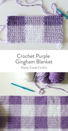 crochet afghans Free Pattern - Crochet Purple Gingham Blanket - I'm beyond thrilled to share this purple gingham crochet blanket pattern with you! I've also made this blanket in pink and black if you'd like to seeDIY Craft Projects Ideas and Craft Pr Afghan Crochet Patterns, Crochet Stitches, Knitting Patterns, Crochet Afghans, Knitting Ideas, Free Knitting, Quilt Patterns, Crochet For Beginners Blanket, Baby Blanket Crochet