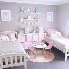 Kids Bedroom Ideas For Girls Bedroom Design Oprecords.boy and girl children bedroom in two colors.kids bedroom ideas for girls kids bedroom paint ideas kids bedroom paint ideas girls little… Cute Teen Bedrooms, Twin Girl Bedrooms, Bedroom For Girls Kids, Baby Bedroom, Little Girl Rooms, Bedroom Decor, Trendy Bedroom, Bedroom Colors, Bedroom For Twins