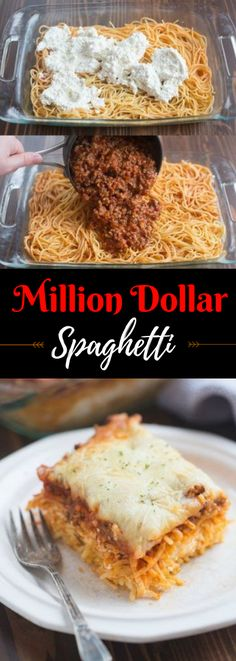Million Dollar Spaghetti is a DELICIOUS easy dinner idea! The noodles are layere. - Million Dollar Spaghetti is a DELICIOUS easy dinner idea! The noodles are layered with a cheesy center and topped with a yummy homemade meat sauce and cheese.
