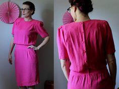 Vintage Pretty in Pink Dress // 1980's Liz Claiborne 100% Silk Hot Pink Dress // Gorgeous Bright Fun Pencil Skirt Button Back Dress Size 10