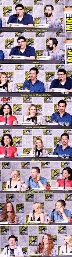We're seeing a lot of characters that are not fairy tales. What is your favorite character that you would like to see on the show? -------- Cast at San Diego Comic Con 2016 - 23 July 2016