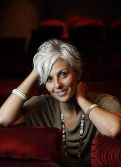 20 Sassy Long Pixie Hairstyles: #3. Gray Colored Side Parted Pixie Haircut