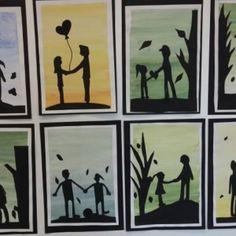 """""""Isä ja minä"""". Kolmasluokkalaisten isänpäivätaulut. Siluettikuva mustalle piirustuspaperille piirtämällä ja leikkaamalla. Liimataan isän lempivärillä maalatulle taustalle. Kuva ja vinkki: Kirsi Eskelinen"""