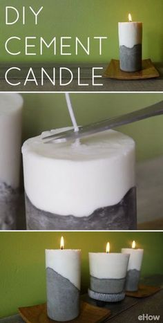 Make a set of modern, beautiful and sleek candles for any room in your home with cement! Follow this easy tutorial and make these incredible home decor statement pieces or gifts!