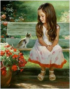 """Girl and Kitty"" by Vladimir Volegov, painting, cm, oil on canvas Art And Illustration, Vladimir Volegov, Images D'art, Fine Art, Beautiful Paintings, Cat Art, Art Pictures, Painting & Drawing, Painting Of Girl"