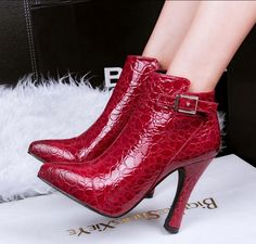 Hot Womens Pointed Toe Ankle Boot Chunke High Heels Shoes Buckle Zip Clubwear