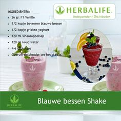 Blauwe bessen shake Smoothie Diet, Smoothies, Herbalife Tips, Blenders, Shake Recipes, Keto, Herbs, Nutrition, Lunch