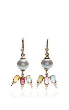 18 K Gold And South Sea Pearl Khepri Fairy Earrings by DANIELA VILLEGAS Now Available on Moda Operandi