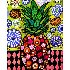 HUGE SALE- Hawaiian Pineapple Art Print Poster of Painting by Heather Galler Tropical Fruit Hawaii Islands Floral Pineapple Art, Vintage Floral Fabric, Hawaiian Art, Pine Cone Crafts, Folk Art, Art Projects, Original Paintings, Tropical, Art Prints
