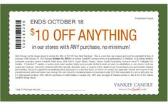 Print this new Yankee Candle Coupon!! This coupon valid for $10 off anything at your local Yankee Candle store –