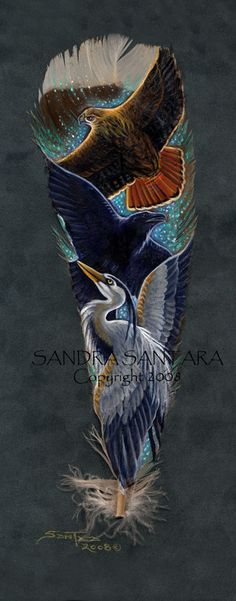 Totem of Grace and Magic - Red tail Hawk, Raven, and Great Blue Heron on a feather print
