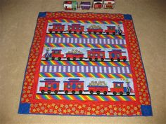 Train Quilt with Family Members in the train cars - Quilters Club of America