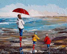 Beau format JP DOUCHEZ Peinture huile sur toile au couteau Bretagne Morbihan