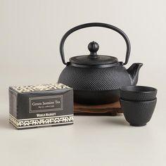 Black Cast Iron Teapot Set via Cost Plus World Market >> #WorldMarket Holiday Gift Giving Ideas