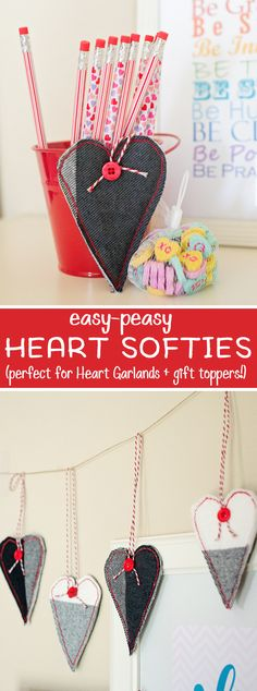 These Easy Peasy Heart Softies, are perfect for Valentines Day!  They're super simple to make and a great way to use up scrap fabric, plus they are perfect to make a heart garland or even as a gift topper!