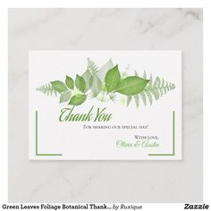 Shop Green Leaves Foliage Botanical Thank You Enclosure Card created by Ruxique. Personalized Note Cards, Wedding Thank You Cards, Egg Shells, Leaf Design, Green Leaves, Paper Texture, Floral Wreath, Place Card Holders, Appreciation Cards