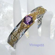 Vintage Art Deco Filigree Bracelet Purple Stone by Vintage55, $78.00