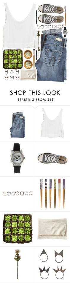"""""""*I wish I had a better voice to sing some better words*"""" by my-black-wings ❤ liked on Polyvore featuring AG Adriano Goldschmied, MINKPINK, Olivia Pratt, Converse, Iosselliani, Covo, BACSAC, Serena & Lily, Crate and Barrel and NLY Accessories"""