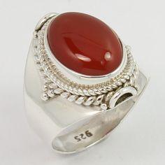 Natural CARNELIAN Gemstone 925 Sterling Silver Beautiful Designer Ring Size US 7 #Unbranded