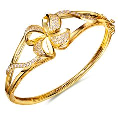 Elegant Flower Stunning style Women Top AAA CZ Prong Setting Gold-color Bridal Wedding Jewelry Fancy Bangle Bracelet #Affiliate