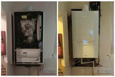 """We took the old boiler on the left off a customers wall yesterday, it hadnt been serviced for over 5 years and the metal back panel had rusted off. Its very important to service your boiler every 12 months, especially for Co2 testing.  'Carbon monoxide (CO) is sometimes referred to as the """"silent killer"""". Every year in the UK, over 200 people go to hospital with suspected carbon monoxide poisoning, which leads to around 40 deaths' - NHS Direct"""