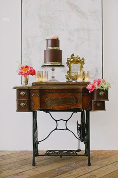 wedding cake table on vintage sewing machine