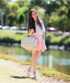 Smiling in Pink Satchel Handbags, Handbags Michael Kors, Michael Kors Bag, Chloe Ting, Michael Kors Selma Medium, Flower Petals, Stylish Outfits, Outfit Of The Day, Street Style