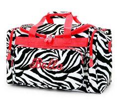 Personalized Duffle Bag Zebra Red Trim