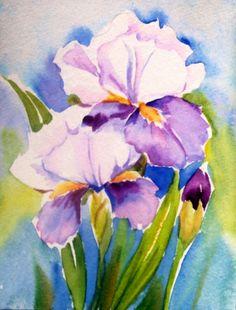 """Iris"" 4,5x6 ""Watercolor, painting by artist Meltem Kilic"