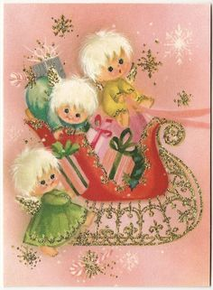 Vintage Greeting Card Christmas Glitter Angel Sleigh Pink Mod 1960s Cute A545