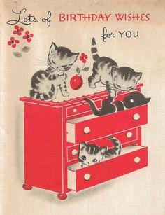 via It's my cake: Vintage Kittens Birthday Card