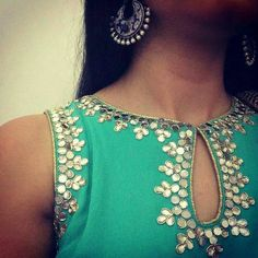 Top Beautiful Mirror work Blouse Designs Latest designs :- Mirror work blouse designs have become fashion now. When a mirror work blouse is combined with a plain saree it will give stunning a… Kurti Neck Designs, Dress Neck Designs, Saree Blouse Designs, Indian Attire, Indian Outfits, Indian Wear, Mirror Work Blouse Design, Mirror Work Kurti, Indian Blouse