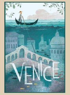 Another vintage travel poster on our list, but this one is far different from all the others. The colors and the illustrations actually make you want to go to Venice. It has been designed by Belle Lee. City Poster, Poster S, Tourism Poster, Venice Travel, Italy Travel, Travel Europe, Spain Travel, Travel Packing, Italy Vacation