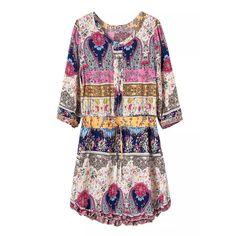 2015夏季欧美女裙民族风人棉印花连衣裙圆领抽绳修身女显瘦短裙子-淘宝网