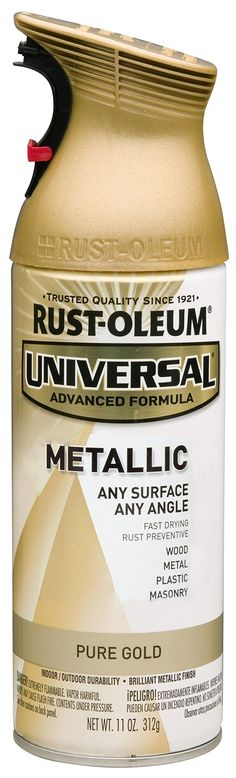 Rust-Oleum 245221 Universal All Surface Spray Paint, 11-Ounce, Metallic Pure Gold - Gold Spray Paint Glass - Amazon.com