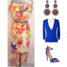 """NWT FLORAL STRAPLESS DRESS NWT BRIGHT, COLORFUL, FLORAL STRAPLESS HI-LO W/BLUE BRAIDED BELT.       MEASUREMENTS FROM TOP-HIGH HEM: 30""""    FROM TOP-LO HEM: 47""""                                       BUST ALL THE WAY AROUND: 34"""". BUT IS ELASTIC, & WILL STRETCH LARGER                   100% RAYON Trixxi Dresses"""