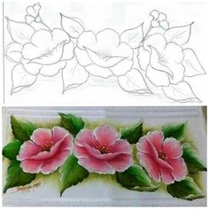 One Stroke Painting, Tole Painting, Fabric Painting, Diy Painting, Rose Sketch, Flower Art Drawing, E Flowers, Fabric Paint Designs, Acrylic Painting Techniques
