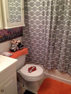 Harley Davidson Bathroom Make Over. Decal On Seat Was Free, Well Not  Totally Free. Cut From A Shopping Bag And Modge Podged On Toilet Seat!