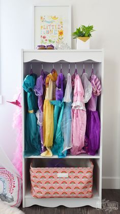 DIY Dress Up Storage from a Bookcase Hack. Toy organisation in the playroom or bedroom.
