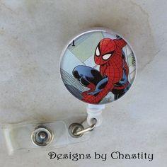 Spider Man Badge Reel Retractable Holder Belt Clip ID Teacher RN Postage Stamp  #Handmade