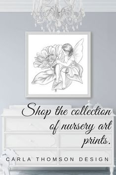 Nursery Art Print Of Sweet Flower Fairy Drawing In Black White Perfect With Any Decor Minimalist Neutral Boho