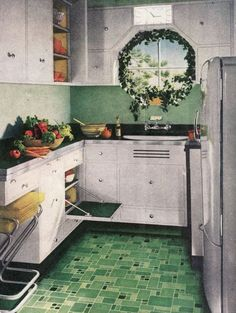 A Brief History of Kitchen Design from the 1930s to 1940s | it wasn't until the 1930s that the kitchen began to take on its modern shape. The kitchen configuration that we all know now, has its roots, like a lot of modern design, in the German school known as the Bauhaus. Sleek lines and structured freestanding kitchen cabinets, which provided both storage and workspace.