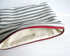 Nautical Red White Blue Ticking Stripe Pouch by belrossa on Etsy