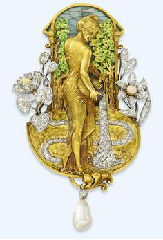 AN ART NOUVEAU DIAMOND, PEARL AND PLIQUE A JOUR ENAMEL PENDANT/BROOCH   Depicting a sculpted gold classical maiden tipping an amphora of diamond-set 'water' into a similarly-set stream inset within an enamelled landscape surround, with circular-cut diamond floral detail accented by enamel, suspending an articulated diamond collet and pearl drop, circa 1905, 8.1cm long