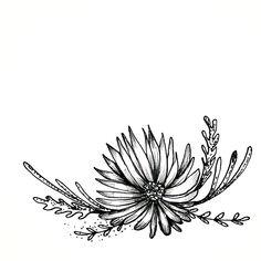 Flower wreath hand sketched design, pen and ink. Floral illustration.