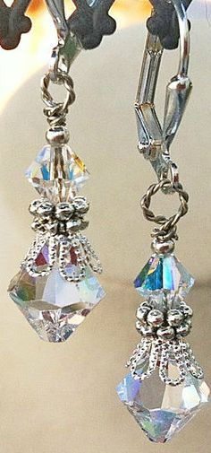 New Swarovski Clear/AB Finish Bicone Bead by HisJewelsCreations, $22.00