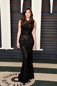 Hailee Steinfeld wearing an Elie Saab dress and Brian Atwood shoes at the Vanity Fair 2016 Oscars party.