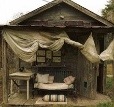 a rustic camphouse on our 'south 40'?  (or an outdoor studio space!)